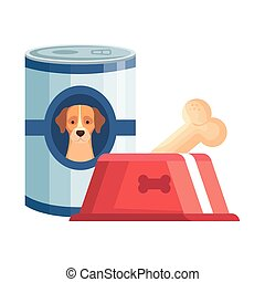 food for dog in can and dish with bone