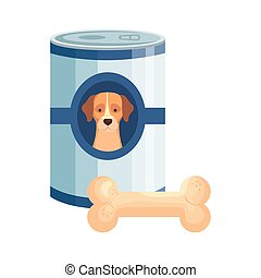 food for dog in can with bone toy