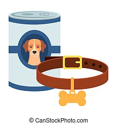 food for dog in can with collar isolated icon