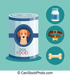 food for dog in can with icons