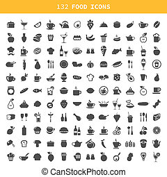 Collection of icons of food and ware. A vector illustration