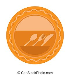 Food Icon for Cafe. Fork Spoon Knife Logo Design Isolated on White Background
