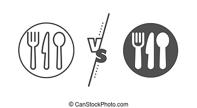 Food line icon. Cutlery sign. Fork, knife, spoon. Vector