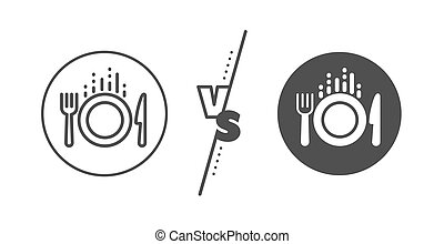 Food line icon. Cutlery sign. Fork, knife. Vector