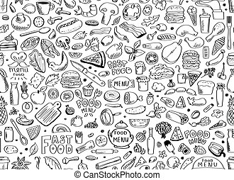 Food, seamless pattern. Vector illustration isolated on white background