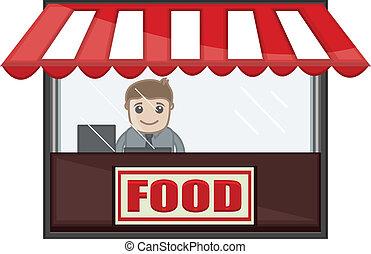 Drawing Art of Cartoon Salesman on Fast Food Shop Vector Illustration