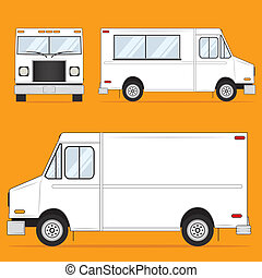 Template Illustration of a food or delivery van