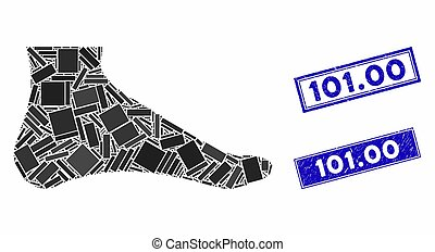 Foot Mosaic and Distress Rectangle 101.00 Stamp Seals