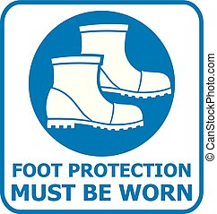 foot protection sign (safety icon)