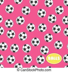 Football ball seamless pattern on pink background