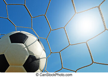 football field soccer stadium on the green grass blue sky sport