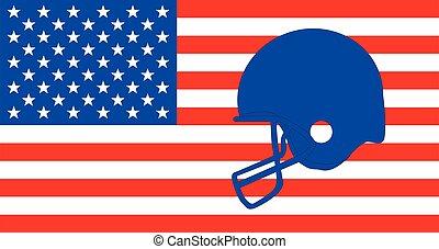 Football Helmet On The Stars And Stripes