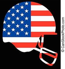 Football Helmet Silhouette On The Stars And Stripes