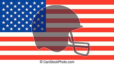 Football Helmet Silhouette On The USA Flag