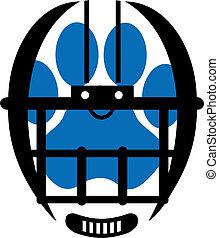 football helmet with paw print