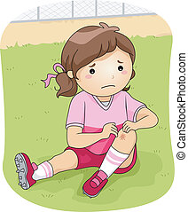 Illustration of a Little Football Player Checking Her Injured Knee