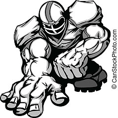 Cartoon Silhouette of a Cartoon Football Player Crouching