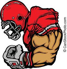 Cartoon Silhouette of a Strong Cartoon Football Player Flexing Arms