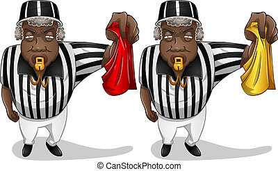 A vector illustration of a football referee holding a red or yellow flag and whistles.