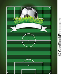 Football soccer ball on green field background presentation