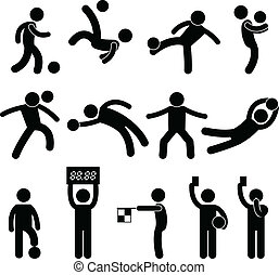 A set of pictogram representing football, soccer, goalkeeper, referee, and linesman.