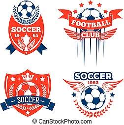 Football sport club of soccer game badge set