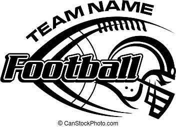 football team design with laces and helmet for school, college or league