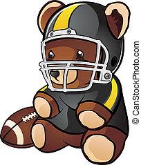 A cartoon teddy bear stuffed animal wearing a jersey and football helmet with a football