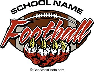 football team design with large claw for school, college or league