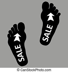 Footpath human footpath. Barefoot prints with the inscription SALE. Abstract concept, icon set. Vector illustration on a gray background. Human footprint, icon