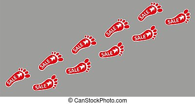 Footpath human footpath. Barefoot prints with the inscription SALE. Abstract concept, icon set. Vector illustration on a gray background. Human footprint, icon. Vector