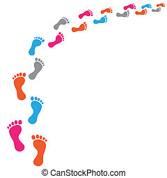 Colored footprints on the white background.