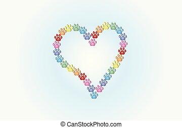 Footprint dog love heart shape logo