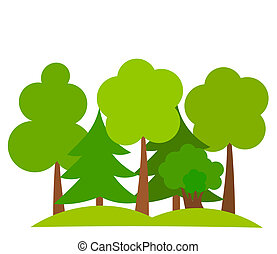 Various trees in forest. Vector illustration