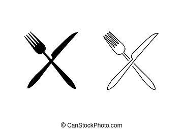 Fork and knife icon set vector. Eat symbol. Vector