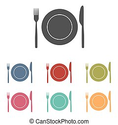 Fork and Knife icons set