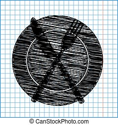 Fork and Knife Icons with pen effect on paper