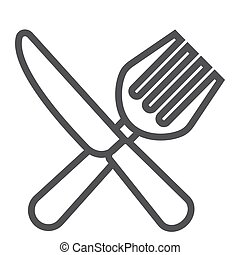 Fork and Knife line icon, dinner and restaurant