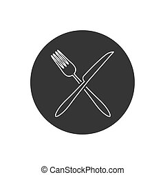 Fork and knife line icon vector. Eat symbol. Vector