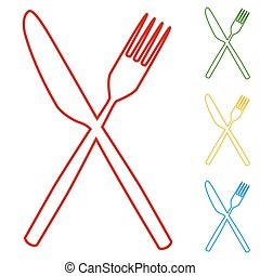 Fork and Knife line Icons
