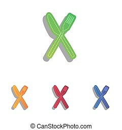 Fork and Knife sign. Colorfull applique icons set.