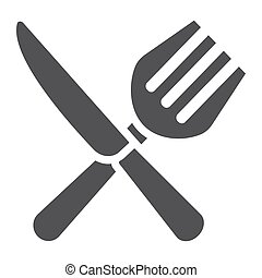 Fork and Knife solid icon, dinner and restaurant