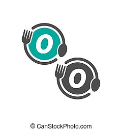 Fork and spoon icon circling letter O logo design