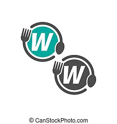 Fork and spoon icon circling letter W logo design