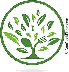Fork and spoon tree logo design.