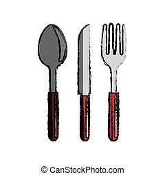 fork, knife and spoon icon