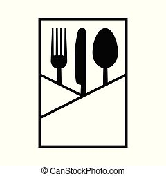 Fork knife and spoon in a napkin