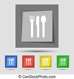 fork, knife, spoon icon sign on original five colored buttons. Vector