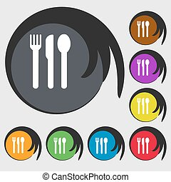 fork, knife, spoon icon sign. Symbol on eight colored buttons. Vector
