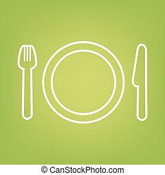 Fork line icon on green background